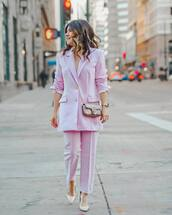 jacket,blazer,pink blouse,pantalon,pumps,mini bag,crossbody bag