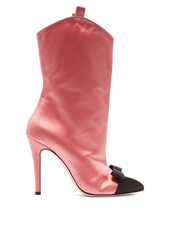 bow,ankle boots,pink,satin,shoes