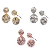 jewels,jewel cult,jewelry,earrings,gold,silver,rose gold,peekaboo earrings,double sided earrings,crystal,rhinestones,360 earrings,double ball earrings,crystal earrings