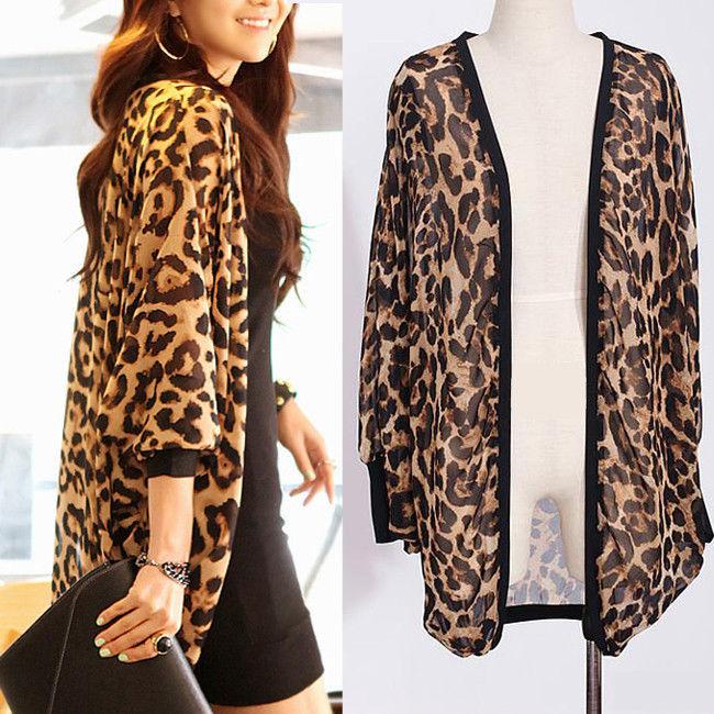 Women's Batwing Sleeve Leopard Print Chiffon Casual Blouses ...