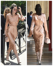 dress,satin,satin dress,nude,nude dress,midi dress,boots,kendall jenner,model,sunglasses,purse,shoes