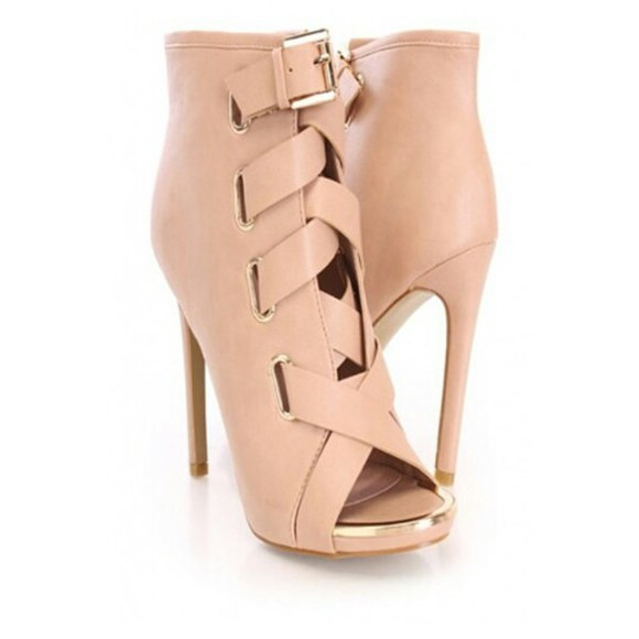 high heels open toes nude straps buckle heels