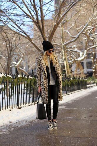 leopard print coat converse beanie jacket