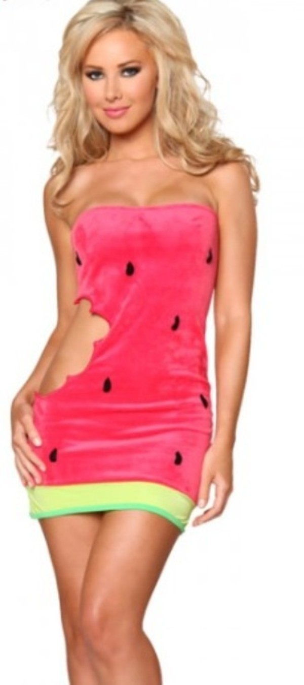 dress watermelon print watermelon dress cut-out summer yummy