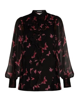 blouse print silk black pink top