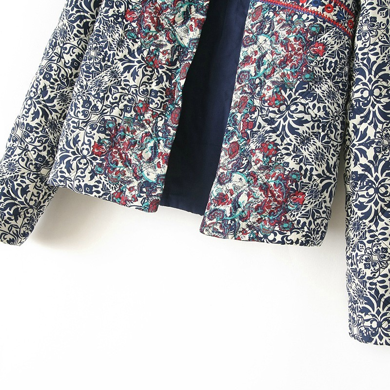 Navy Long Sleeve Embroidered Porcelain Print Jacket - Sheinside.com