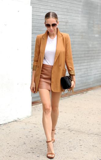 brooklyn blonde blogger rust blazer leather skirt mini skirt