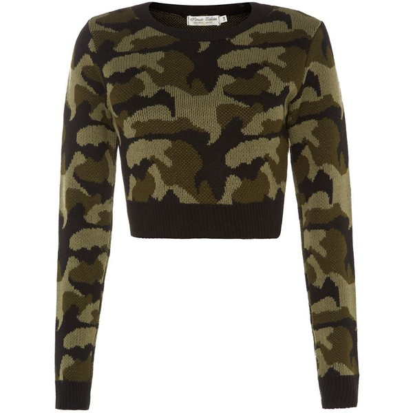 Parisian Green Camouflage Crop Jumper - Polyvore