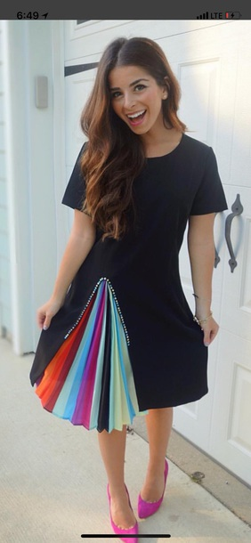 dress black dress rainbow slit dress midi dress stripes