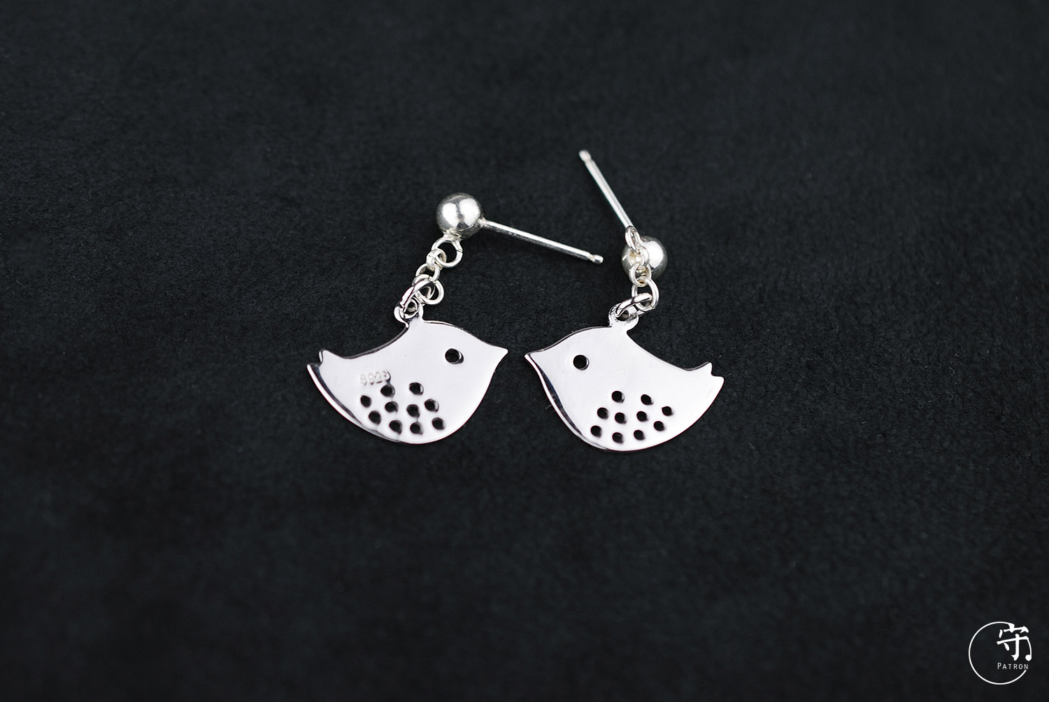 Handmade 925 Sterling Silver Pair of Lovebirds Women Earrings - Wishbop.com