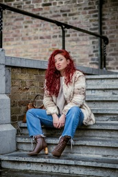 nothinglikefashion,blogger,jacket,jeans,bag,shoes,winter outfits,boots,fur coat