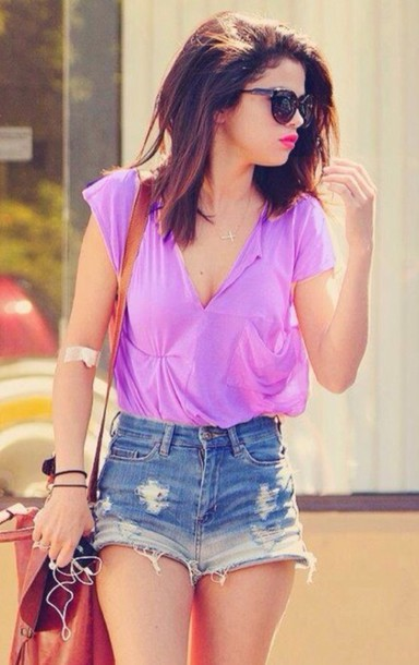 blouse sheer purple shirt ombre shorts High waisted shorts sunglasses summer outfits shorts