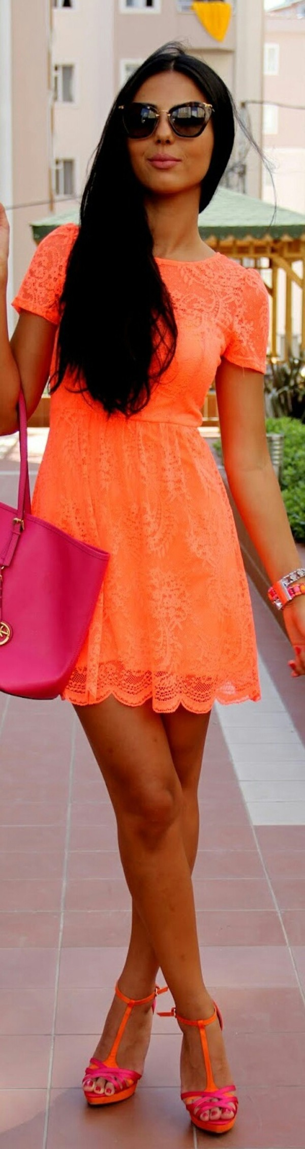 dress neon neon orange lace dress orange dress short dress