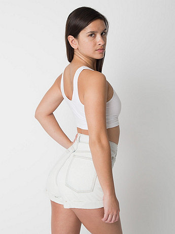 Light Wash High-Waist Jean Cuff Short | American Apparel