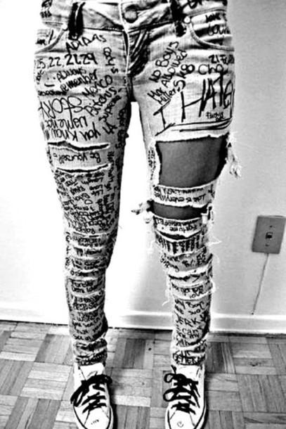 Jeans art sharpie denim - Wheretoget