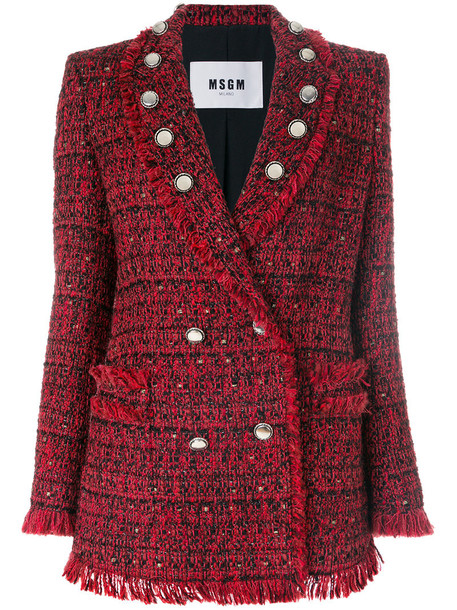 MSGM jacket women embellished cotton silk red