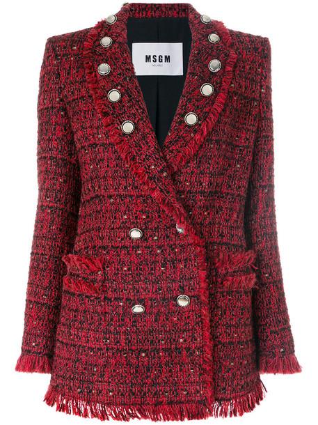 jacket women embellished cotton silk red