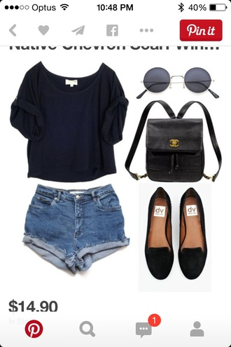 shirt black top style crop tops sunglasses bag shorts loafers leather backpack round sunglasses smoking slippers shoes