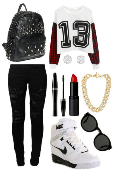 nike sneakers ripped jeans bag necklace