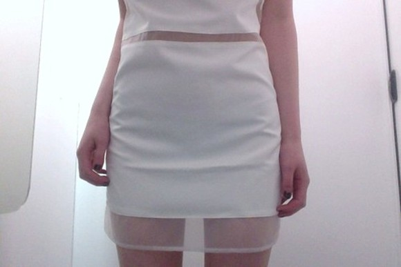 white dress pale skirt