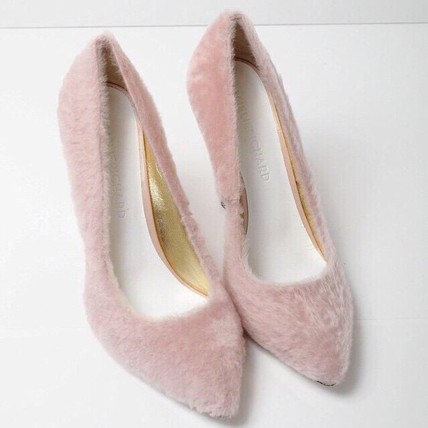 shoes pink dress style pink heels fluffy fur blush fuzzy pink pink fur cute pink heels blush heels formal love fluffy faux fur shoes faux fur shorts pink shoes nude fur heels nude heels