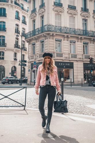 jacket soft pink jacket pink denim jeans shoes bag hat