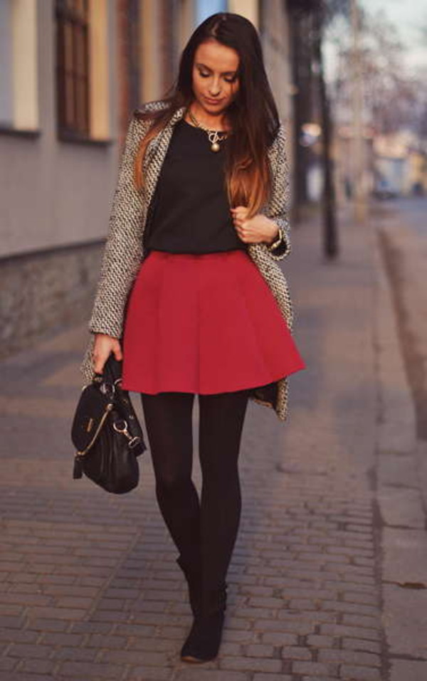 skirt pleated skirt red