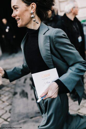 jewels blazer grey blazer pants grey pants top black top turtleneck black turtleneck top earrings silver earrings jewelry silver jewelry paris fashion week 2017 fashion week streetstyle fashion week 2017