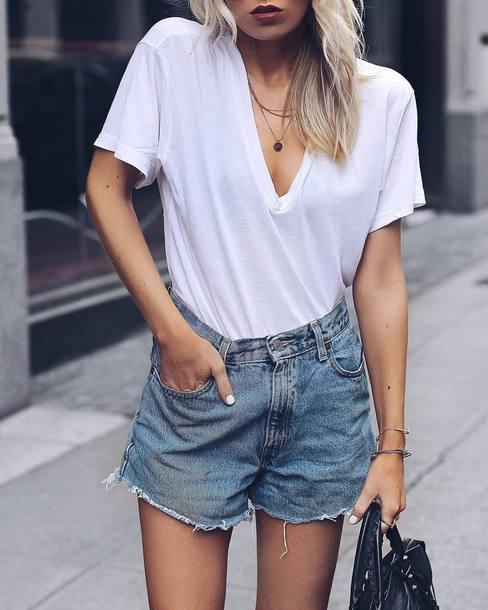 t-shirt tumblr white t-shirt v neck denim denim shorts shorts summer outfits summer shorts