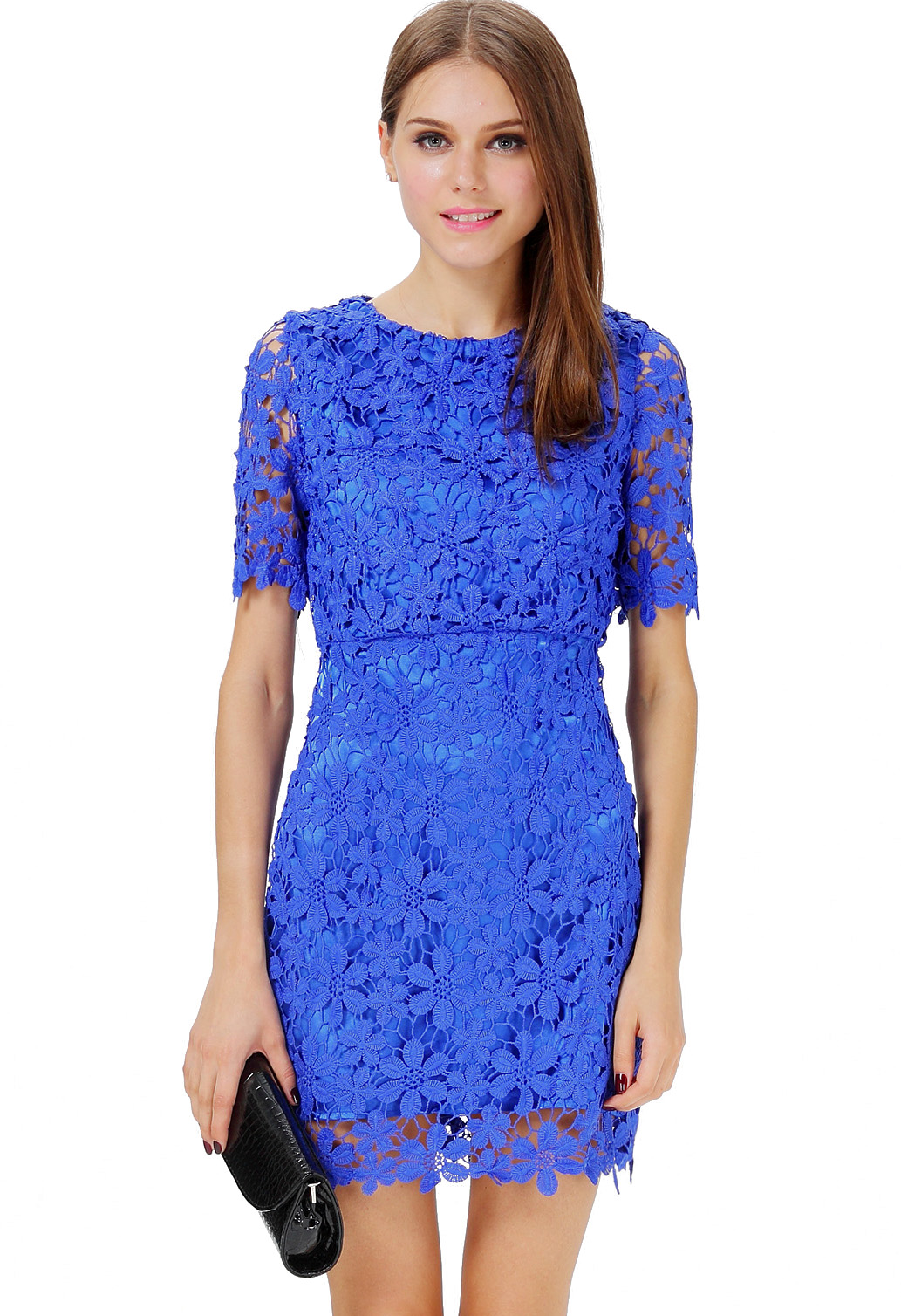 Blue Short Sleeve Hollow Floral Crochet Bodycon Dress Sheinsidecom
