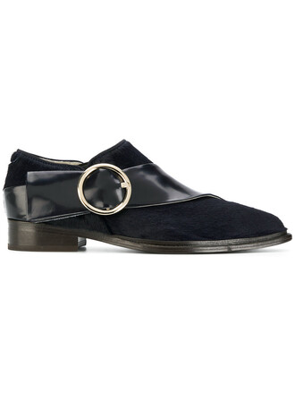 hair women loafers leather blue shoes