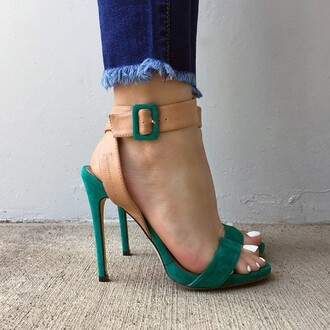 shoes medium heels strappy heels straps heels green cool girly boho gojane high heels