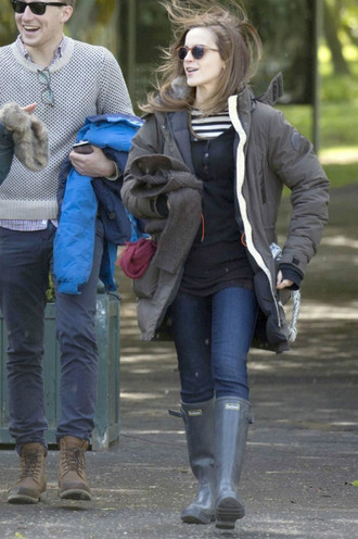 shoes boots rainboot emma watson sunglasses jacket