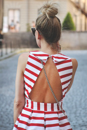 dress,red,stripes,striped dress,open back,open backed dress,bag,red dress,summer dress,white dress,striped shirt,shorts,white,backless,cute,july 4th,peter pan collar,cut-out dress,open back dresses,red and white stripe,red and white stripped dress,red and white stripes,love,pretty,red and white striped dress,backless dress