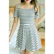 dress,fashion,trendy,stripes,cut out shoulder,black and white dress,summer,spring,trendsgal.com