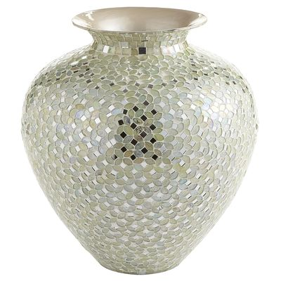 White & Silver Mosaic Vase - Short