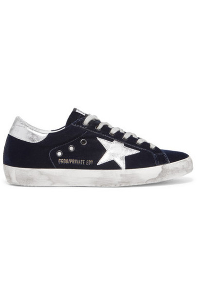 GOLDEN GOOSE DELUXE BRAND sneakers leather blue velvet shoes