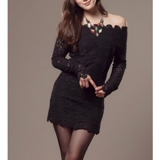 dress casual lace dress long sleeves long sleeve dress black dress unomatch unomatch shop unomatch dresses shop style: uwd084