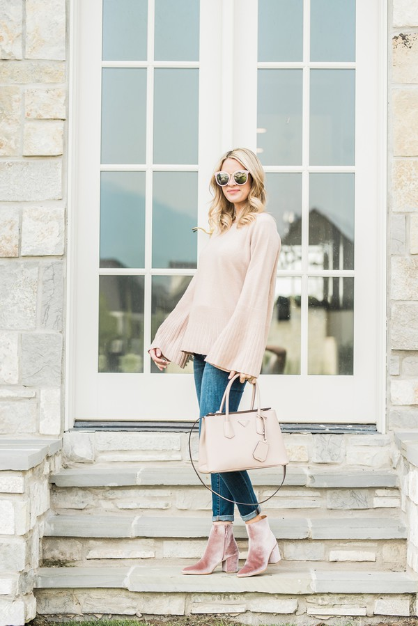 ivory lane blogger sweater jeans shoes bag sunglasses make-up bell sleeve sweater fall outfits handbag ankle boots
