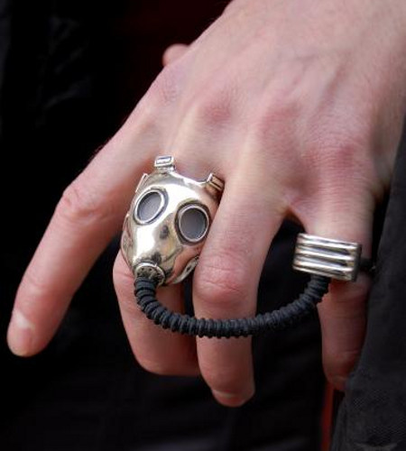 Pull My Finger!: Clever Gas Mask Ring Set | Geekologie