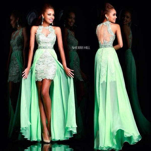dress green dress sherri hill sherri hill high-low dresses high low prom dresses prom dress prom dress long prom dress short prom dress