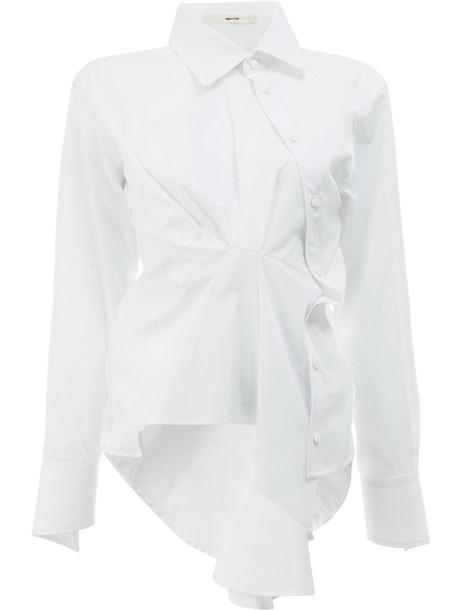 Aganovich shirt long women white cotton top