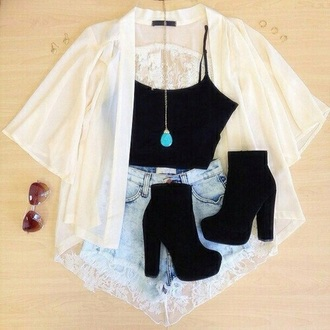 shorts shoes blouse top sunglasses jewels