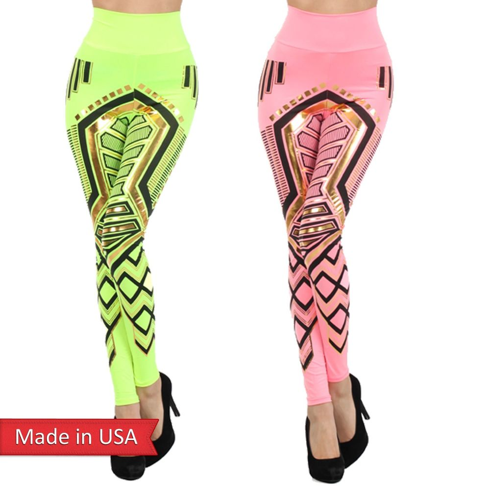 Color Egyptian Princess Gold Foil Print Fold Over Leggings Tights ...