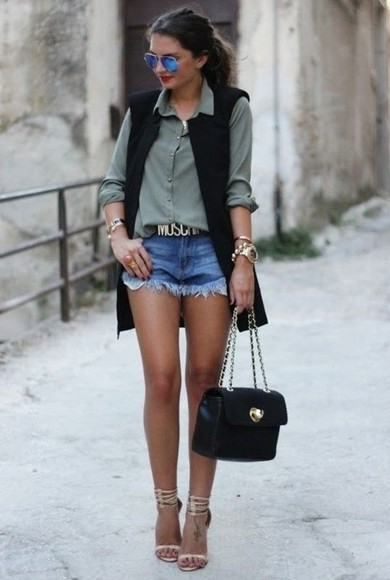 handbag belt denim shorts music urban chill