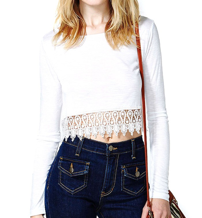 Long Sleeve Cropped Top With Crochet Hem