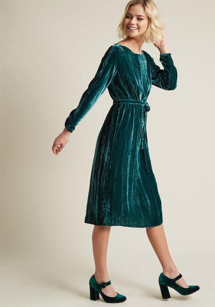 BB Dakota dress long sleeve dress long velvet green