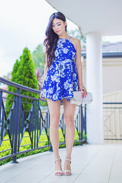 metallic paws blogger dress floral dress mini dress blue dress birthday dress