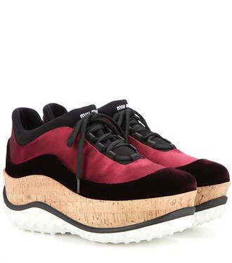 sneakers platform sneakers velvet satin red shoes