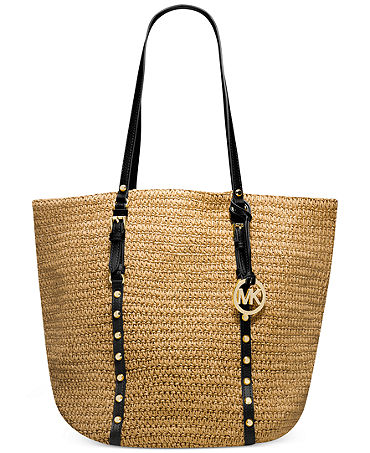 MICHAEL Michael Kors Large Studded Straw Shopper - Handbags & Accessories - Macy's